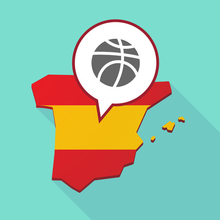 balon de basketball: Illustration of a long shadow map of Spain, its flag and a comic balloon with  a basketball ball