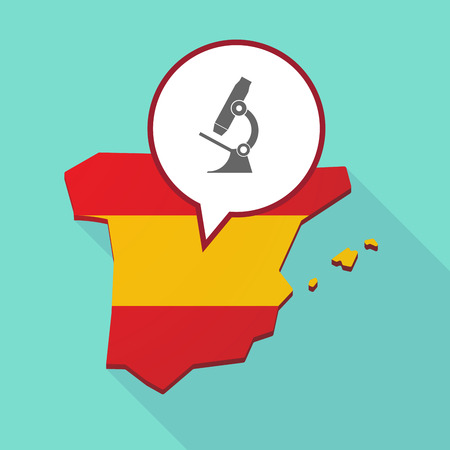 its: Illustration of a long shadow map of Spain, its flag and a comic balloon with  a microscope icon