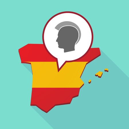 Illustration of a long shadow map of Spain, its flag and a comic balloon with  a male punk head silhouette