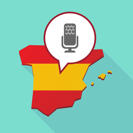 official record: Illustration of a long shadow map of Spain, its flag and a comic balloon with  a microphone sign