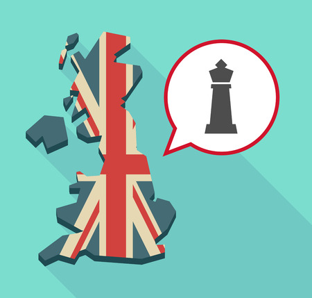 Illustration of a long shadow map of the United Kingdom, its flag and a comic balloon with a  king   chess figure