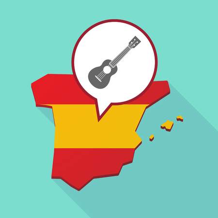 madrid spain: Illustration of a long shadow map of Spain, its flag and a comic balloon with  an ukulele