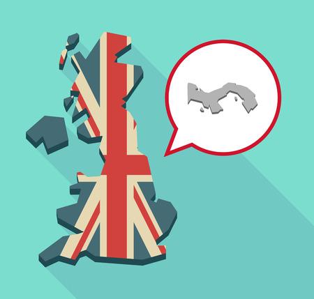 Ilustración de una correspondencia larga sombra del Reino Unido, su bandera y un globo de cómic con el mapa de Panamá Vectores