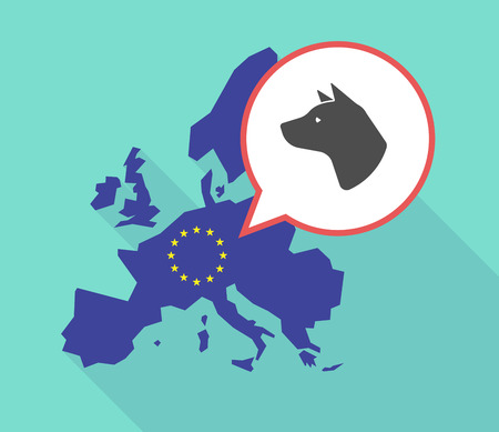 parliament: Illustration of a long shadow European Union map, its flag and a comic balloon with  a dog head