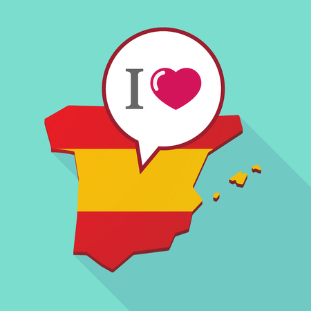 madrid spain: Illustration of a long shadow map of Spain, its flag and a comic balloon with  an  I like glyph
