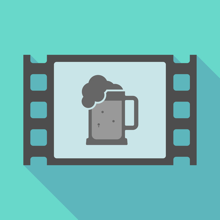 tarro cerveza: Illustration of a long shadow  film frame with  a beer jar icon