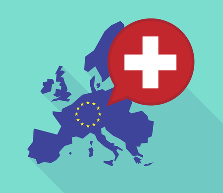 Illustration of a long shadow European Union map, its flag and a comic balloon with   the Swiss flag