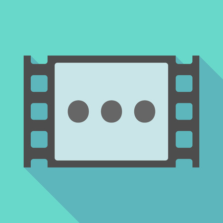 ellipsis: Illustration of a long shadow  film frame with  an ellipsis orthographic sign Illustration