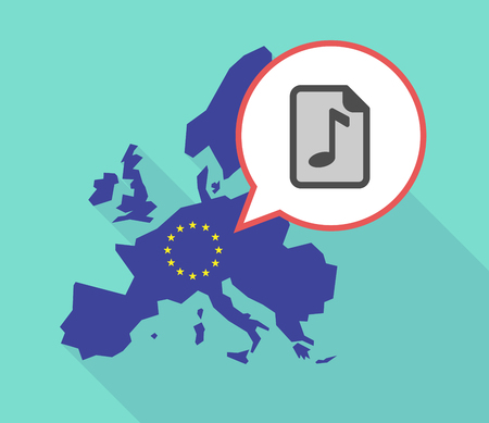partition musique: Illustration of a long shadow European Union map, its flag and a comic balloon with  a music score icon