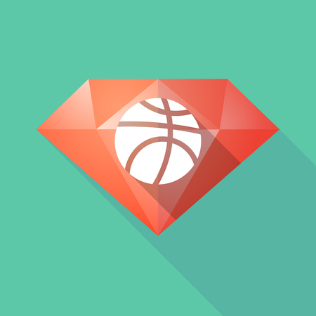 Illustration of a long shadow diamond with  a basketball ball