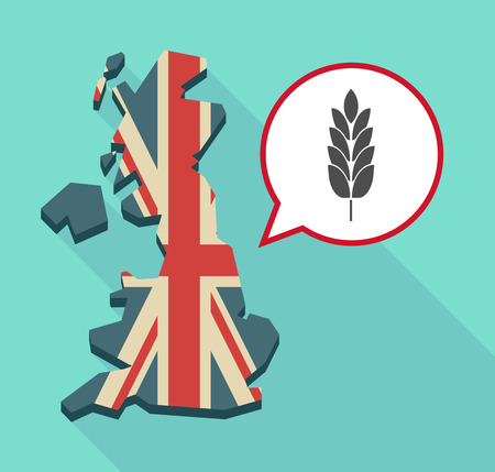 Illustration of a long shadow map of the United Kingdom, its flag and a comic balloon with  a wheat plant icon