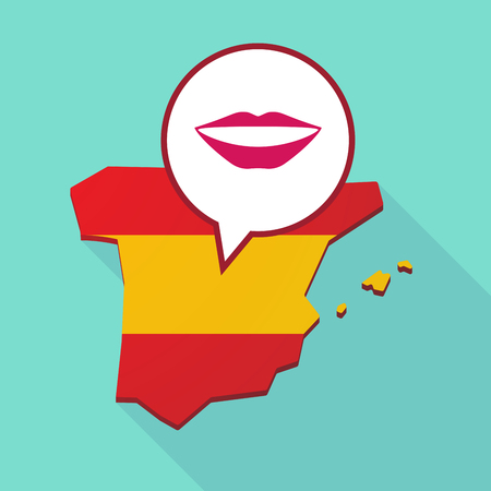 its: Illustration of a long shadow map of Spain, its flag and a comic balloon with  a female mouth smiling Illustration