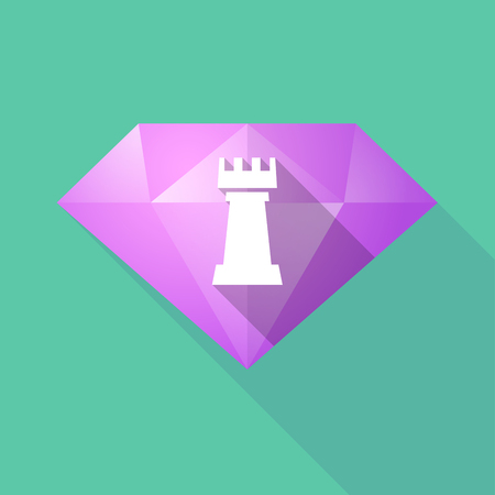 carat: Illustration of a long shadow diamond with a  rook   chess figure Illustration