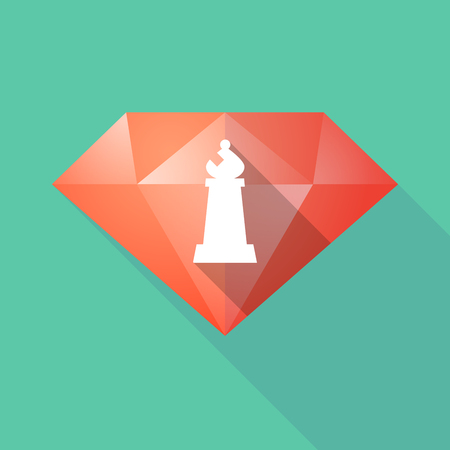 Illustration of a long shadow diamond with a bishop    chess figure