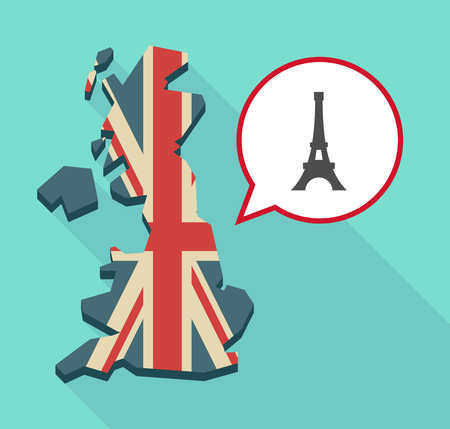Illustration of a long shadow map of the United Kingdom, its flag and a comic balloon with   the Eiffel tower Illustration