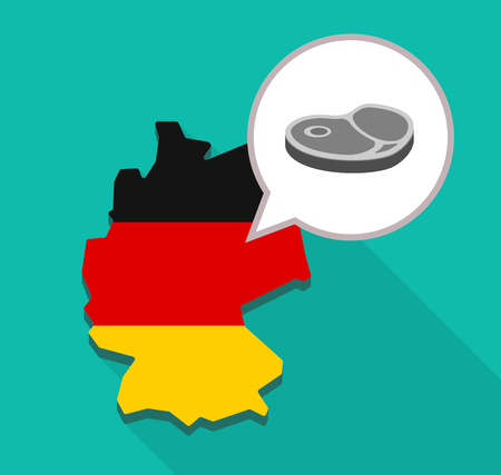 Illustration of a long shadow map of Germany, its flag and a comic balloon with  a steak icon Ilustrace