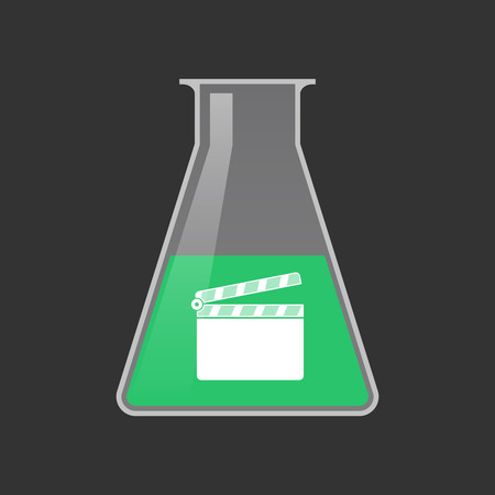 Illustration of an isolated chemical test tube with a clapperboard