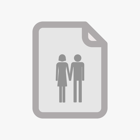 heterosexual couple: Illustration of an isolated document with a heterosexual couple pictogram