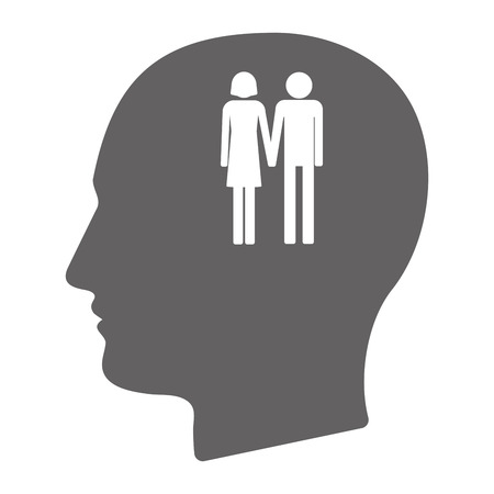 heterosexual couple: Illustration of an isolated  male head silhouette with a heterosexual couple pictogram