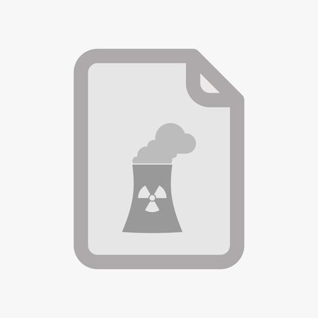 cooling tower: Illustration of an isolated document with a nuclear power station
