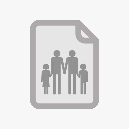Illustration of an isolated document with a gay parents  family pictogram