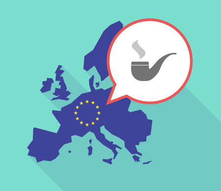 Illustration of a long shadow European Union map, its flag and a balloon with a smoking pipe