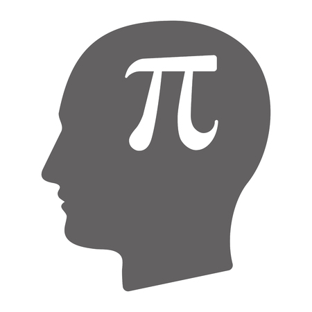 Illustration of an isolated  male head silhouette with the number pi symbol 向量圖像