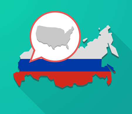 Illustration of a long shadow Russia map, its flag and a balloon with  a map of the USA Illustration