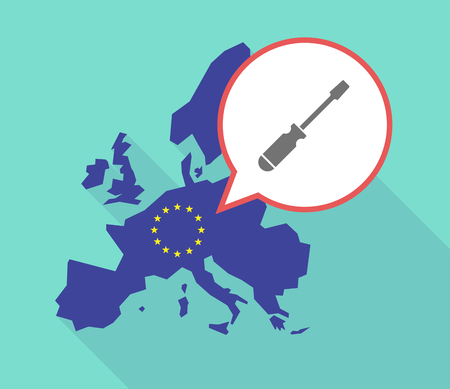 Illustration of a long shadow European Union map, its flag and a balloon with a screwdriver