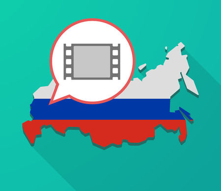 Illustration of a long shadow Russia map, its flag and a balloon with a film photogram