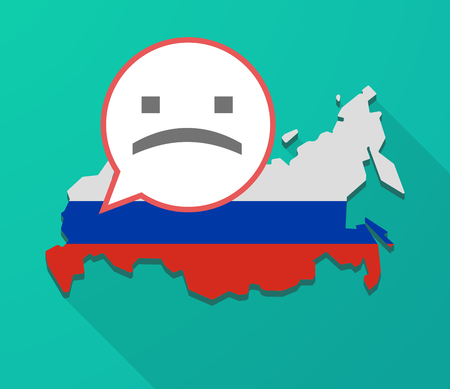 Illustration of a long shadow Russia map, its flag and a balloon with a sad text face