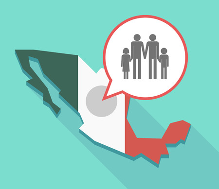 Illustration of a long shadow Mexico map, its flag and a balloon with a gay parents  family pictogram