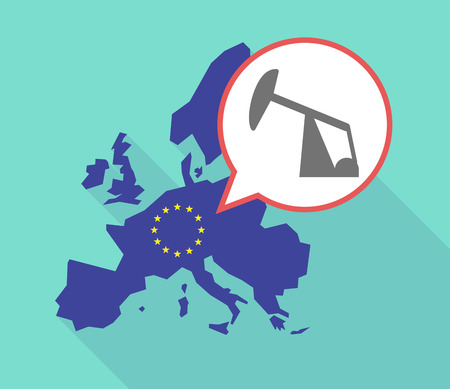 horsehead pump: Illustration of a long shadow European Union map, its flag and a balloon with a horsehead pump Illustration
