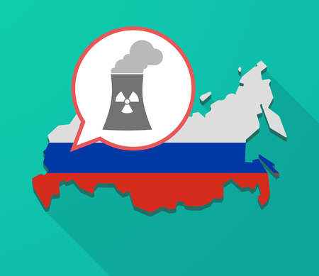 Illustration of a long shadow Russia map, its flag and a balloon with a nuclear power station Illustration
