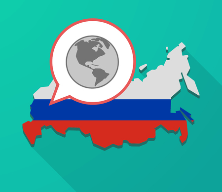 Illustration of a long shadow Russia map, its flag and a balloon with an America region world globe Illustration