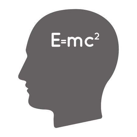 Illustration of an isolated  male head silhouette with the Theory of Relativity formula