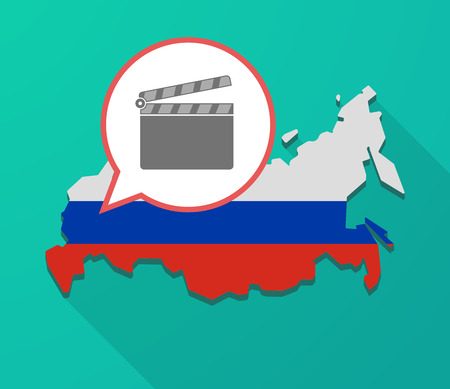 Illustration of a long shadow Russia map, its flag and a balloon with a clapperboard Illustration