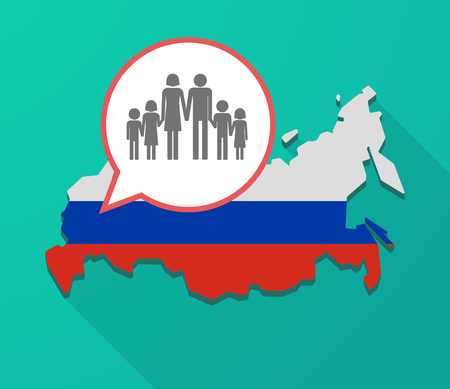 Illustration of a long shadow Russia map, its flag and a balloon with a large family  pictogram