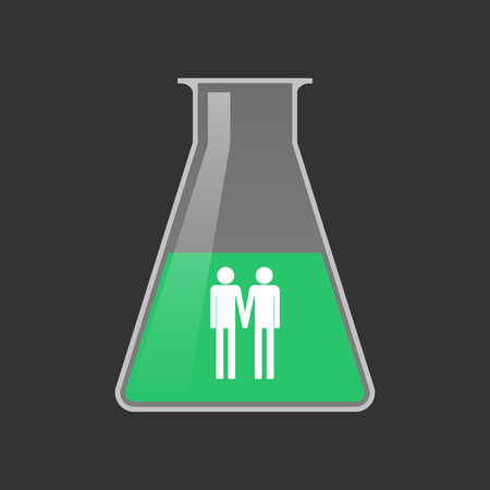 Illustration of an isolated chemical test tube with a gay couple pictogram