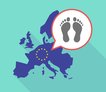Illustration of a long shadow European Union map, its flag and a balloon with two footprints