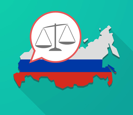 Illustration of a long shadow Russia map, its flag and a balloon with  an unbalanced weight scale