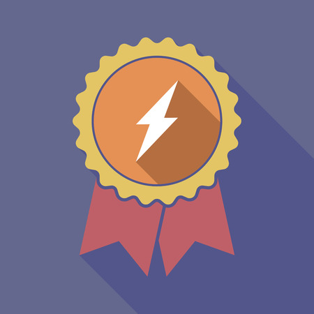 high voltage: Illustration of a long shadow badge ribbon with a lightning