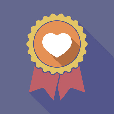 Illustration of a long shadow badge ribbon with a heart