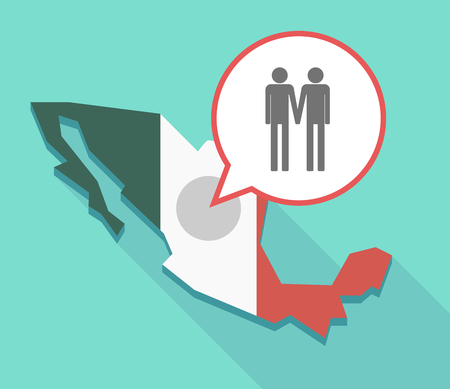 Illustration of a long shadow Mexico map, its flag and a balloon with a gay couple pictogram