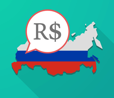Illustration of a long shadow Russia map, its flag and a balloon with a brazillian real currency sign