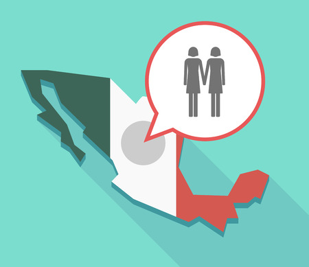 Illustration of a long shadow Mexico map, its flag and a balloon with a lesbian couple pictogram
