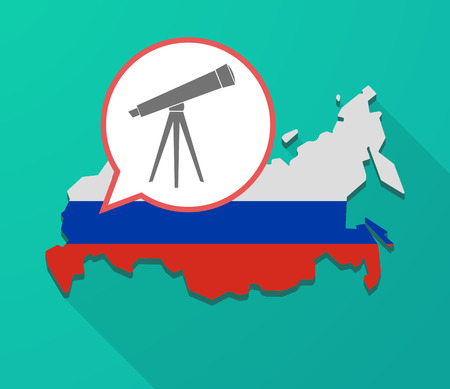 Illustration of a long shadow Russia map, its flag and a balloon with a telescope Illustration