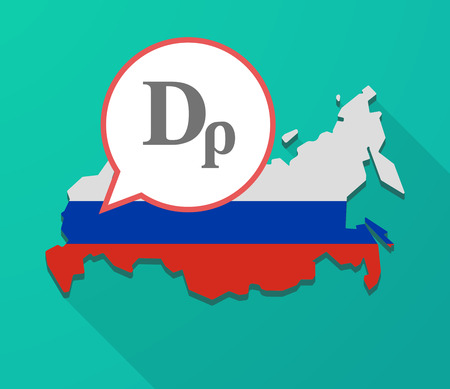 Illustration of a long shadow Russia map, its flag and a balloon with a drachma currency sign Illustration