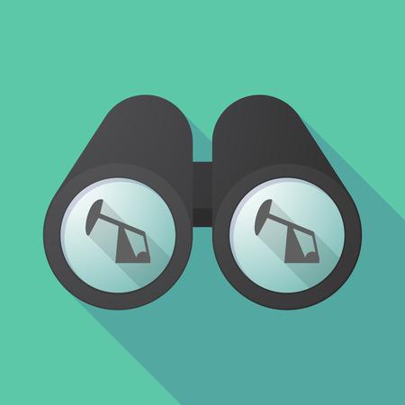horsehead pump: Illustration of a long shadow  binoculars with a horsehead pump