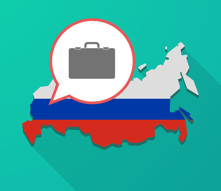 Illustration of a long shadow Russia map, its flag and a balloon with  a briefcase Illustration